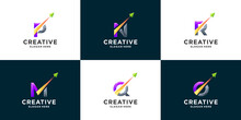 Set Of Gradient Letter And Arrow Logo Design Inspiration