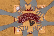 Ouija Board And Hands Llustration