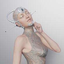 Futuristic CGI Woman With Communication Head Gear And Third Eye