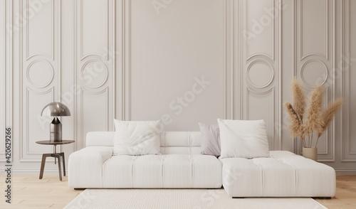 Fotografia Mockup de pared de sala clásica con sofá blanco