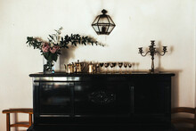 Italian Room With Piano And Flowers