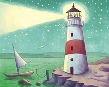 Lighthouse And Boat Watercolor Illustration