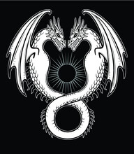 Mystical Drawing: A Double Dragon, Uroboros, A Snake With Two Heads. Alchemy, Magic, Esoterics, Occultism, Fairy Tale. Vector Illustration Isolated On A Black Background.