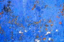 Texture Of Corroding Metal With Grungy Blue Paint