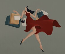 Happy Girl In A Red Dress Holds Purchases In Her Hands Illustration