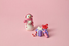 Christmas Set With Plasticine Snowman And Many Gifts.