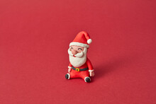 Handmade Figure Of Santa Claus From Colorful Plasticine.