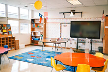 Empty Elementary School Classroom Ready For Receiving Students With All Coronavirus Safety Measures.