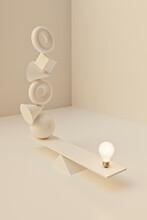 Unreal Balance: A Smart Idea Light Bulb On Seesaw Balancing Multiple Shapes