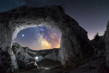 Milky Way Trough A Stone Arch