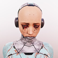 Tearful Sad Futuristic Cyborg Woman