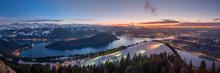 Epic Winter Panorama Of Central Switzerland.
