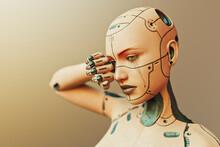 Tearful Sad Futuristic Cyborg Woman