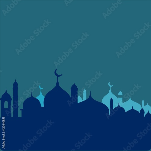 Fototapeta the blue silhouette of the mosque and the dome of the mosque obraz