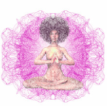 Digital Graphic Pattern Over Woman Sitting In Yoga Pose