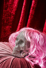 Skull With A Pink Wig