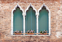 Ancient Gothic Style Window In Venice