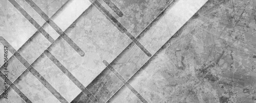 Fototapeta Grey grunge tech geometric abstract background. Vector banner design obraz