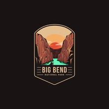 Emblem Patch Logo Illustration Of Big Bend National Park On Dark Background