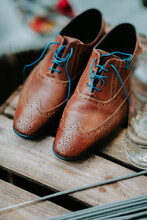 Brown Leather Wedding Shoes With Blue Laces