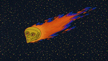 Alien Head Comet Flying In Space