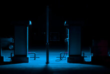 An Electric Car Charger At Night