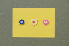 Heart Flame, Smile And Smile Chat Line Icons Set