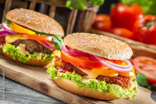 Fototapety, obrazy: hamburger on a wooden background