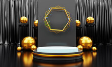 Abstract Golden Geometric Podium With Golden Ball And Black Curtain Background