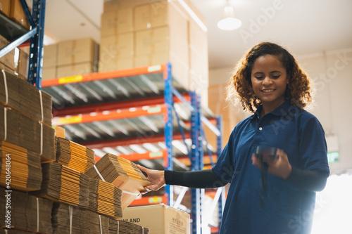 Fotografie, Tablou Portrait of African American worker in warehouse, International export business