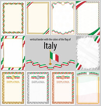 Vertical Frame And Border With Italy Flag