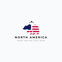 Vector Illustration Of American Flag Inside Walking Grizzly Bear Logo Design