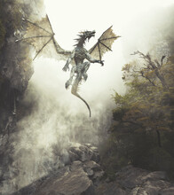Dragon Flying Up Out Of Cavern In Misty Fantasy Forest