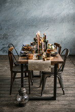 Table Is Served In Rustic Style.