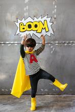 Funny Superhero With Comic Speech Bubble