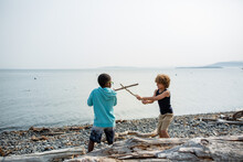 Multiracial Brothers Have Sword Fight With Sticks