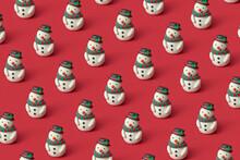 Handcraft Colorful Plasticine Christmas Snowmen Pattern.