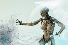 Female White Cyborg Reaching Out To Touch Graphical Pattern