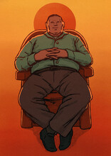 Man Sitting In Armchair At Sunset Illustration