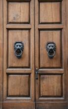 Wooden Door With Lion Door Knockers