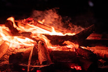 Closeup Of Fire Burning At Night
