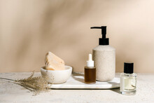 Essential Oil Bottles And Beauty Care Still Life