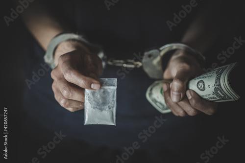 Canvas Drug dealer under arrest confined with handcuffs