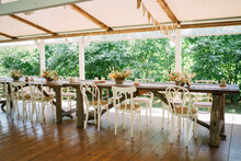 Table Setup For An Outdoor Rustic Wedding