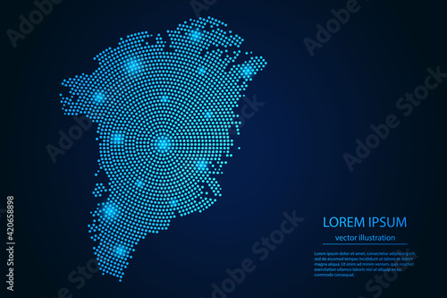 Abstract image Greenland map from point blue and glowing stars on a dark background. vector illustration.