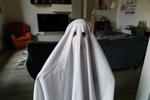 Little Ghost Celebrating Halloween At Home