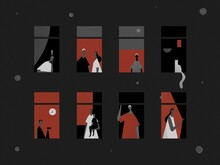 Stay Home Concept. House Facade With Windows And People Look Out Of Apartment. Self-isolation During An Epidemic. Illustration Of Prevention From Virus Pneumonia. Stay At Home Stay Safe. A Virus Is Flying Around