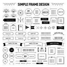 シンプル、モノクロ、フレーム、タイトル、見出し、吹き出し、線画、イラスト、デザイン、セット