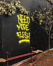 Scary Zombie Flesh Spray Paint Sign
