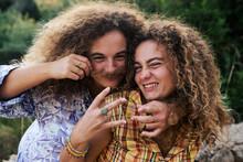 Identical Twin Sisters Having Fun
